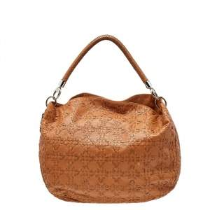 Dior Caramel Cannage Stitched Leather Lady Dior Hobo