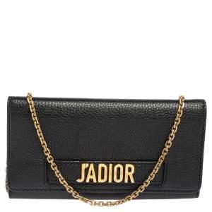 Dior Black Leather J'Adior Croisiere Wallet on Chain