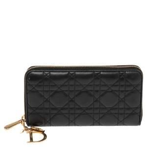 Dior Black Cannage Leather Lady Dior Zip Around Wallet