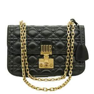 Dior Black Leather Dioraddict Chain Shoulder Bag