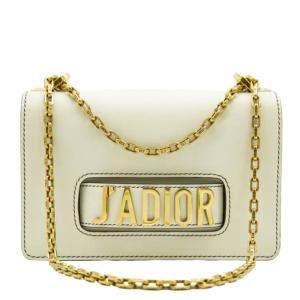 Dior White Leather Small J'adior Shoulder Bag