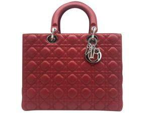 Dior Red Lambskin Leather Large Lady Dior Tote Bag