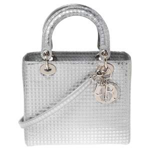 Dior Metallic Silver Micro Cannage Patent Leather Lady Dior Tote