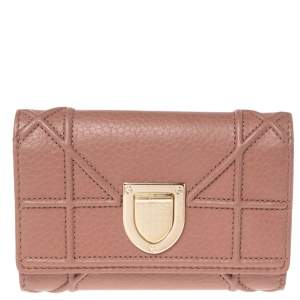 Dior Old Rose Leather Diorama Trifold Wallet