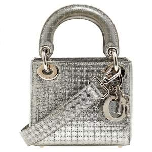 Dior Silver Micro Cannage Patent Leather Micro Lady Dior Tote