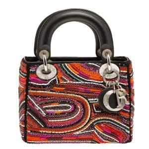 Dior Multicolor Leather Embroidered Lady Dior Tote