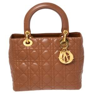 Dior Brown Cannage Quilted Leather Medium Lady Dior Tote