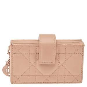 Dior Beige Ultramatte Cannage Leather Lady Dior 5 Gusset Card Holder