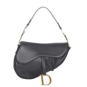 Dior Black Calf Leather Saddle Shoulder Bag