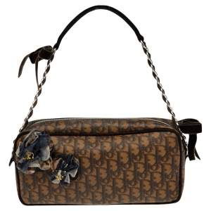Dior Brown Coated Canvas Trotter Romantique Hobo