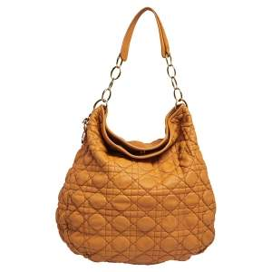 Dior Orange Quilted Cannage Soft Leather Large Hobo