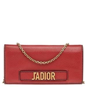 Dior Red Leather J'adior Wallet On Chain