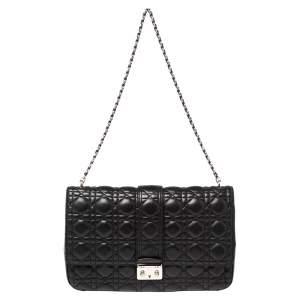 Dior Black Cannage Leather Large Miss Dior Flap Bag