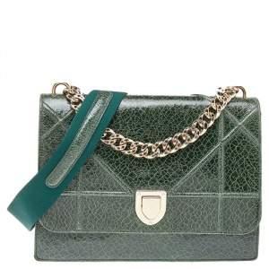 Dior Green Crackle Leather Large Diorama Flap Shoulder bag