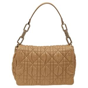 Dior Beige Quilted Cannage Leather Flap Shoulder Bag