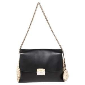 Dior Black Leather and Python Large Diorling Shoulder Bag