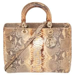 Dior Gold/Beige Python Large Lady Dior Tote