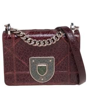 Dior Burgundy Ceramic Effect Leather Diorama Club Shoulder Bag