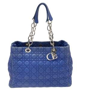 Dior Blue Cannage Leather Large Soft Lady Dior Shopping Tote