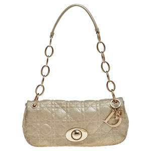 Dior Metallic Beige Cannage Quilted Leather Rendezvous Shoulder Bag