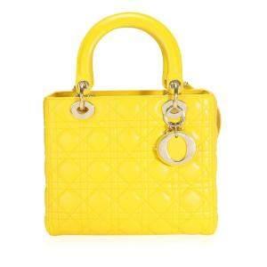 Dior Yellow Cannage Lambskin Leather Medium Lady Dior Bag
