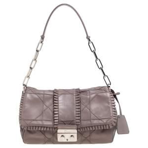 Dior Grey Ruffle Leather New Lock Flap Bag