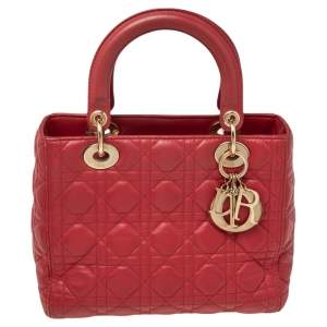 Dior Red Cannage Leather Medium Lady Dior Tote