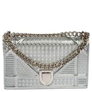 Dior Metallic Silver Micro Cannage Leather Mini Diorama Shoulder Bag