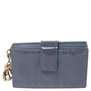 Dior Ash Grey Cannage Patent Leather Lady Dior 5 Gusset Card Holder