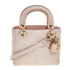 Dior Pink Quilted Leather Lady Dior Tote