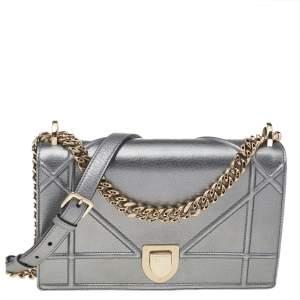 Dior Metallic Grey Leather Medium Diorama Flap Shoulder Bag