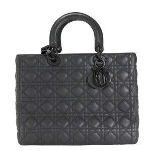 Dior Black Ultramatte Cannage Calfskin Leather Large Lady Dior Bag