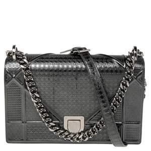 Dior Metallic Black Micro Cannage Leather Medium Diorama Shoulder Bag