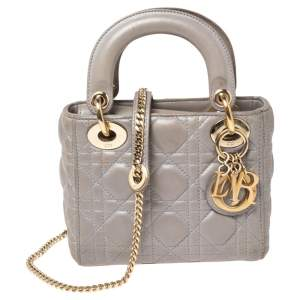 Dior Grey Cannage Leather Mini Chain Lady Dior Tote