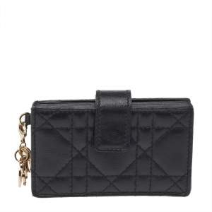 Dior Black Cannage Leather Lady Dior 5 Gusset Card Holder