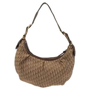 Dior Brown/Beige Oblique Canvas and Leather Ethnic Hobo