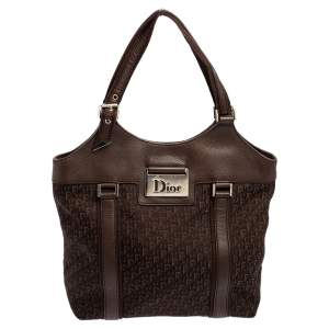 Dior Brown Diorissimo Canvas And Leather Shoulder Bag