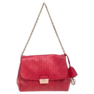 Dior Red Cannage Leather Large Diorling Shoulder Bag