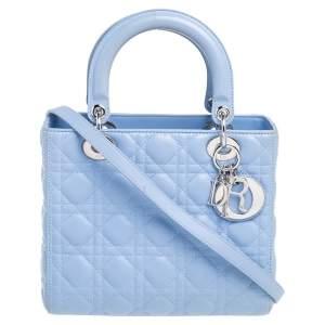 حقيبة يد ديور ليدي ديور متوسطة جلد كاناج أزرق كورنفلاور