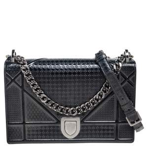 Dior Metallic Grey Microcannage Patent Leather Medium Diorama Shoulder Bag