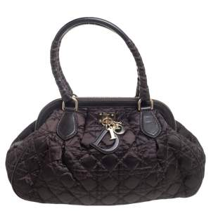 Dior Dark Brown Cannage Nylon and Leather Charming Doctor Bag
