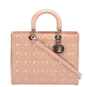 Dior Beige Cannage Patent Leather Lady Dior Tote Bag