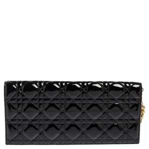 Dior Black Cannage Patent Leather Lady Dior Clutch