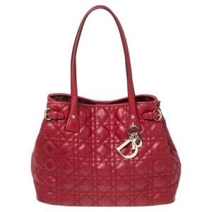 حقيبة يد ديور بانريا صغيرة جلد وكانفاس مقوى كاناج أحمر