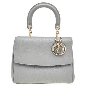 Dior Grey Leather Small Be Dior Top Handle Bag