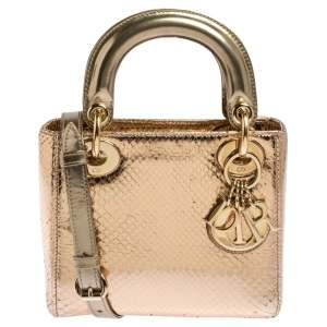 Dior Gold Snakeskin Mini Lady Dior Tote
