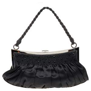 Dior Black Satin Limited Edition Baguette Bag