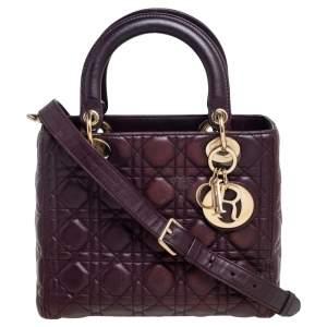 Dior Dark Plum Cannage Leather Medium Lady Dior Tote