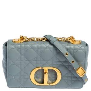 Dior Pale Blue Cannage Leather Small Caro Shoulder Bag