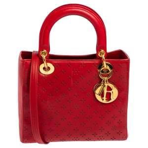 حقيبة يد توتس ديور ليدي ديور جلد قصات ليزر أحمر متوسطة